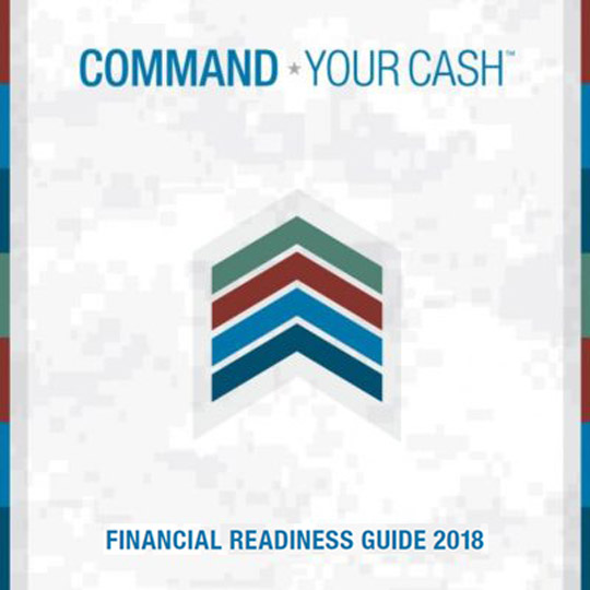 financial readiness guide pdf cover image of a chevron on camoflage background